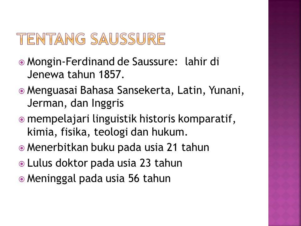 Tentang Saussure Mongin-Ferdinand de Saussure: lahir di Jenewa tahun 1857. Menguasai Bahasa Sansekerta, Latin, Yunani, Jerman, dan Inggris.