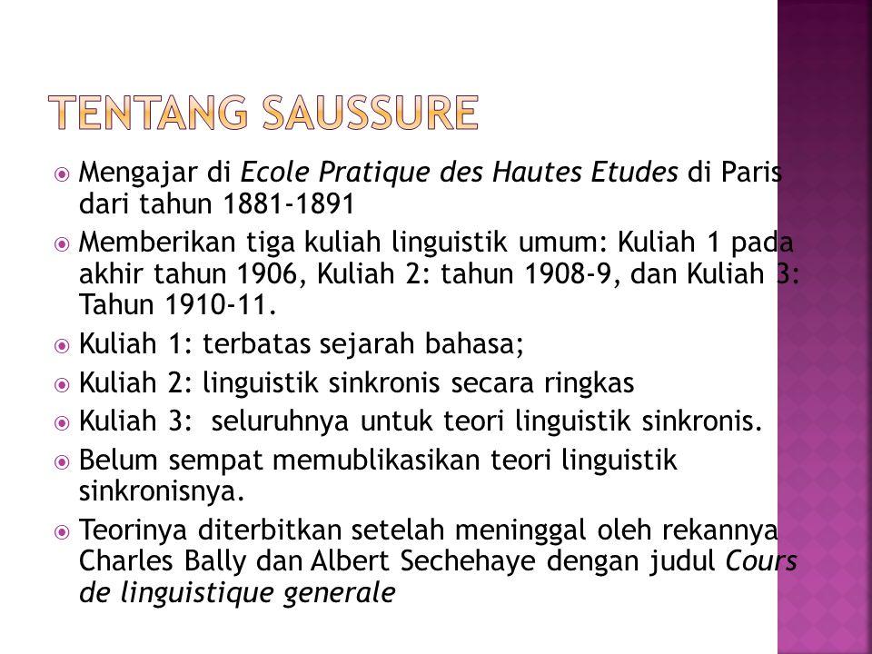 Tentang Saussure Mengajar di Ecole Pratique des Hautes Etudes di Paris dari tahun 1881-1891.