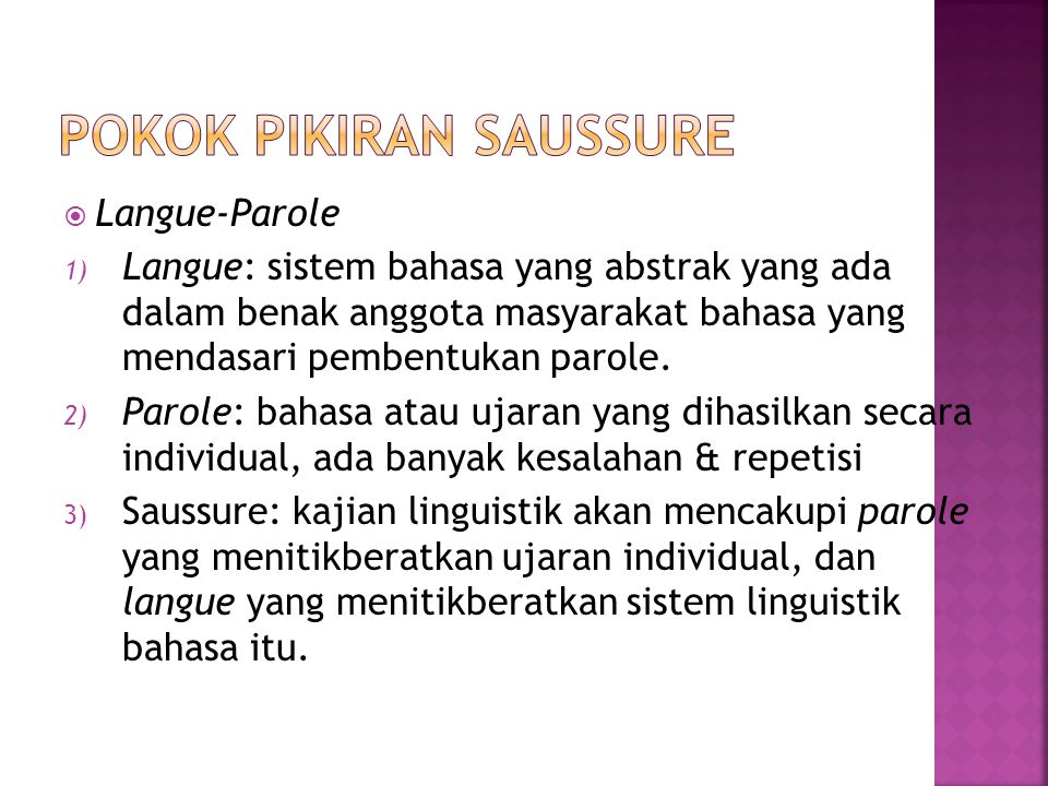 Pokok Pikiran Saussure