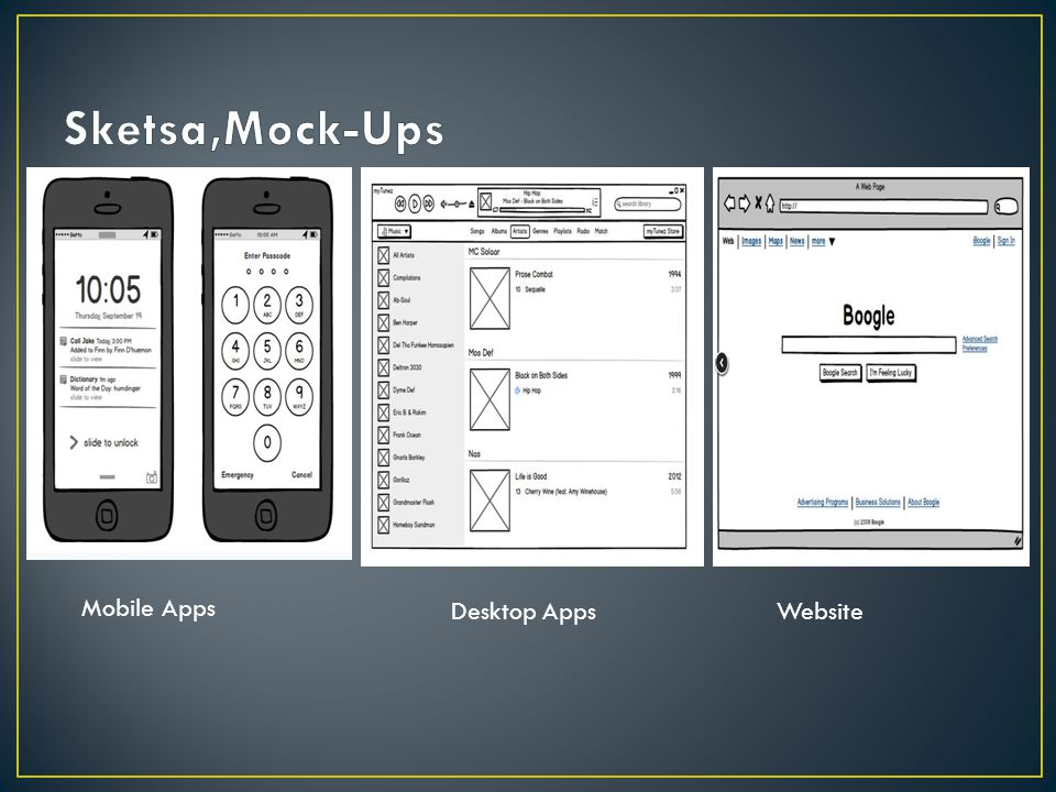 Sketsa,Mock-Ups Mobile Apps Desktop Apps Website