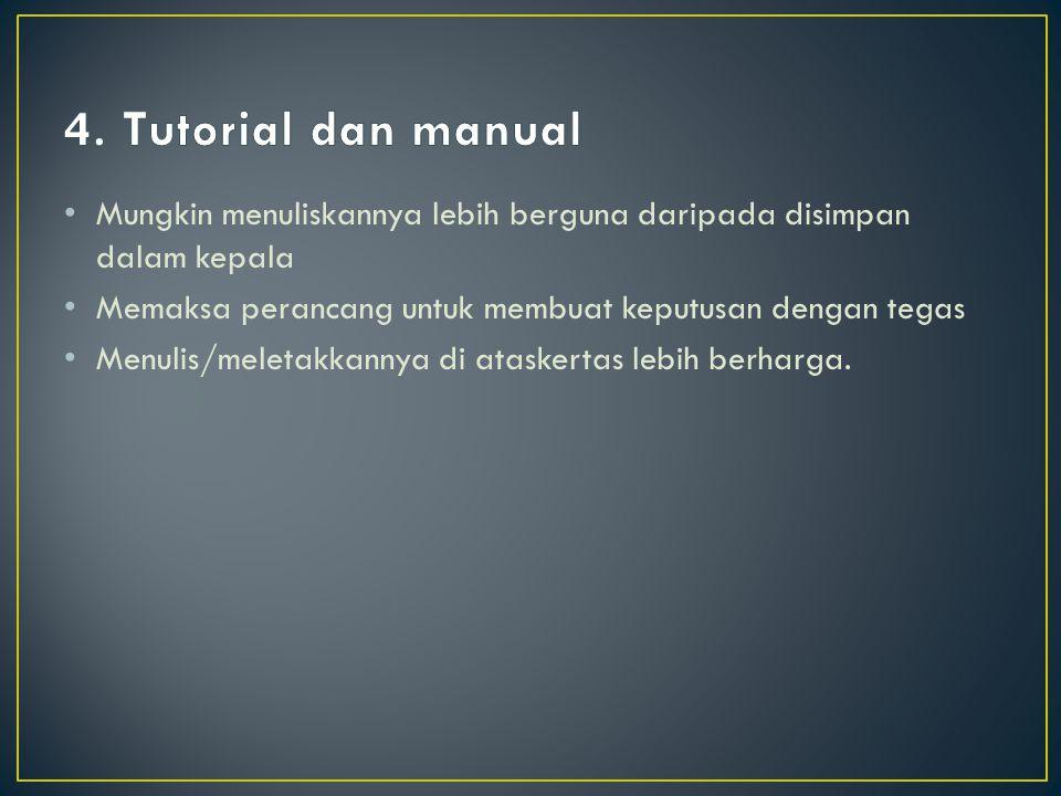 4. Tutorial dan manual Mungkin menuliskannya lebih berguna daripada disimpan dalam kepala. Memaksa perancang untuk membuat keputusan dengan tegas.