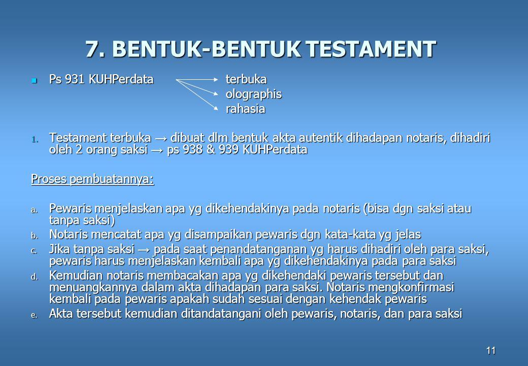 7. BENTUK-BENTUK TESTAMENT