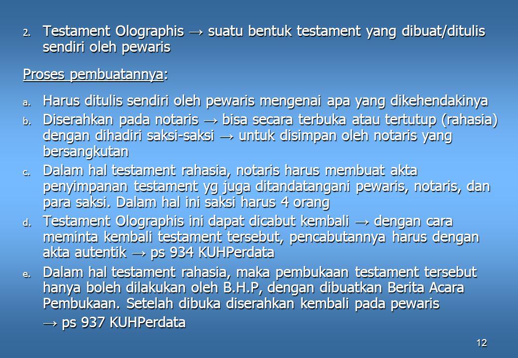 Testament Olographis → suatu bentuk testament yang dibuat/ditulis sendiri oleh pewaris