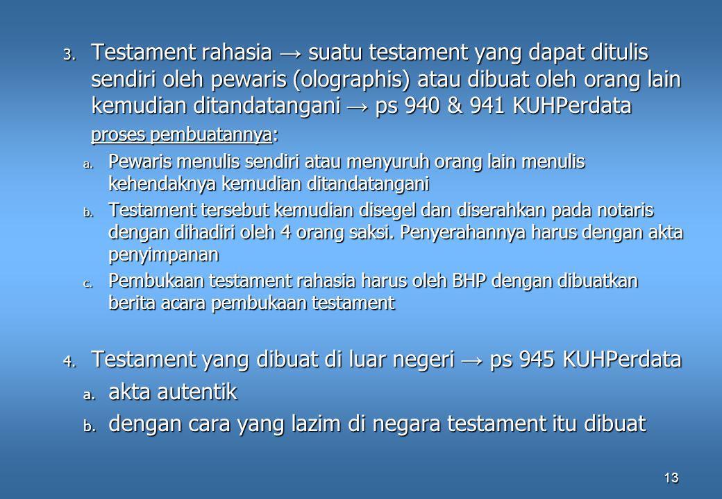 Testament yang dibuat di luar negeri → ps 945 KUHPerdata akta autentik