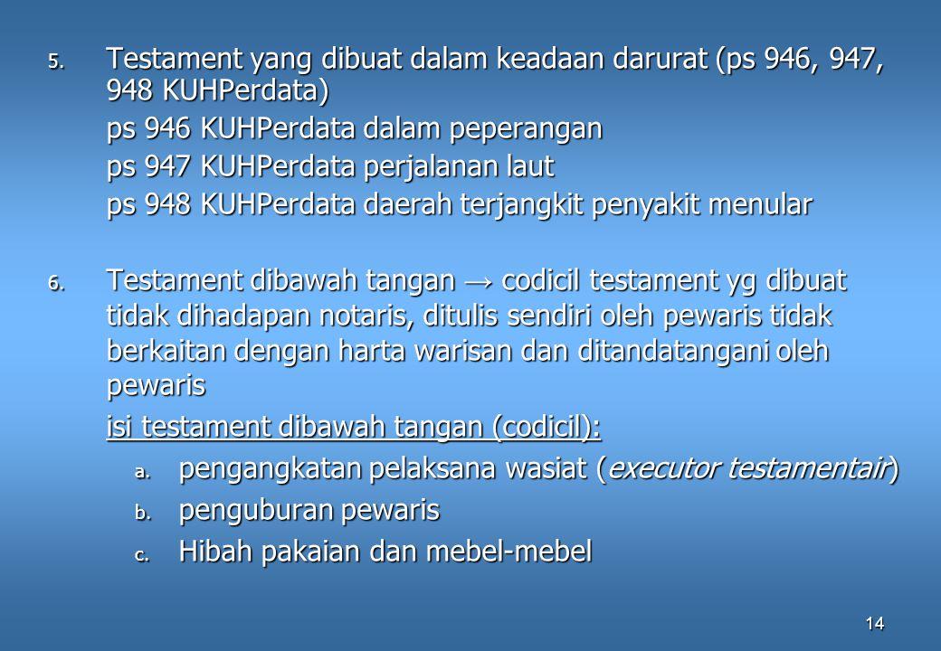 Testament yang dibuat dalam keadaan darurat (ps 946, 947, 948 KUHPerdata)