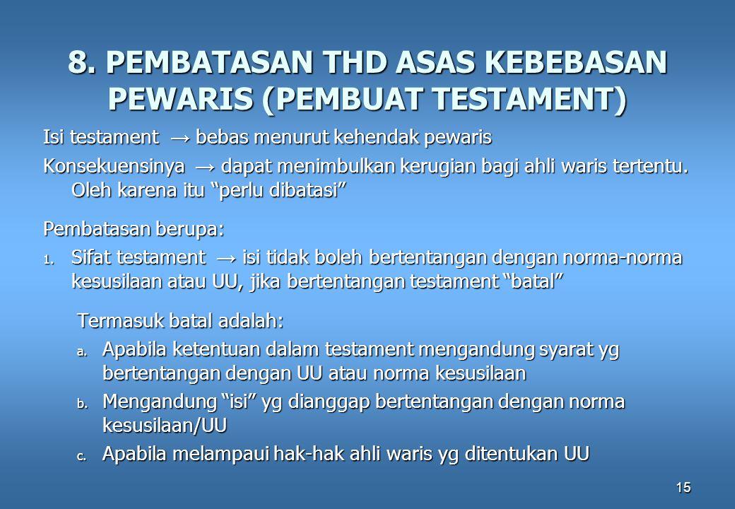 8. PEMBATASAN THD ASAS KEBEBASAN PEWARIS (PEMBUAT TESTAMENT)