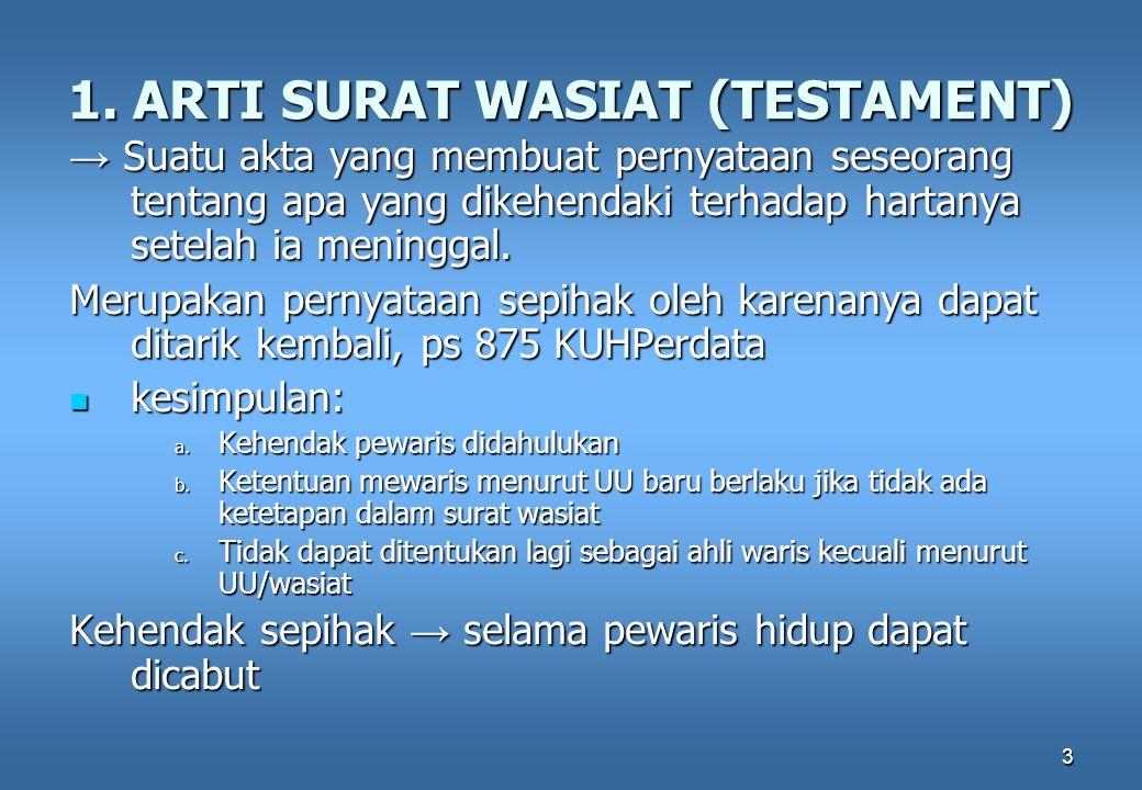 1. ARTI SURAT WASIAT (TESTAMENT)