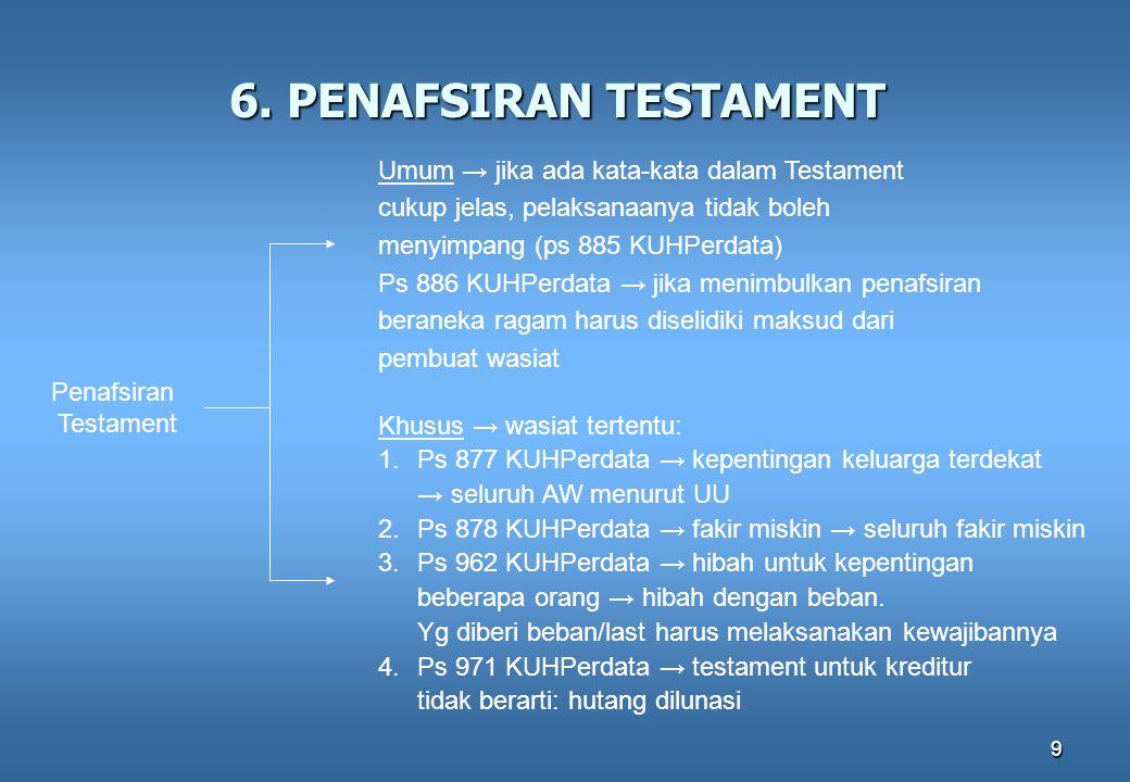 6. PENAFSIRAN TESTAMENT Umum → jika ada kata-kata dalam Testament