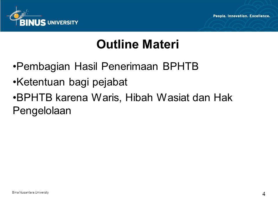 Outline Materi Pembagian Hasil Penerimaan BPHTB Ketentuan bagi pejabat