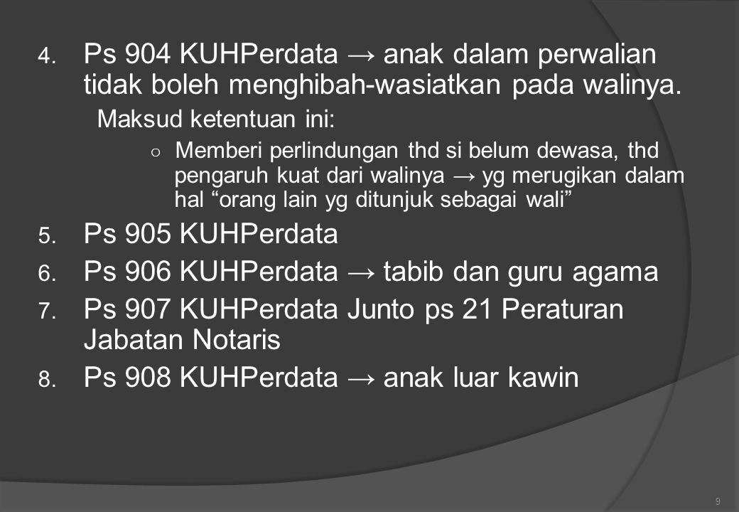 Ps 906 KUHPerdata → tabib dan guru agama