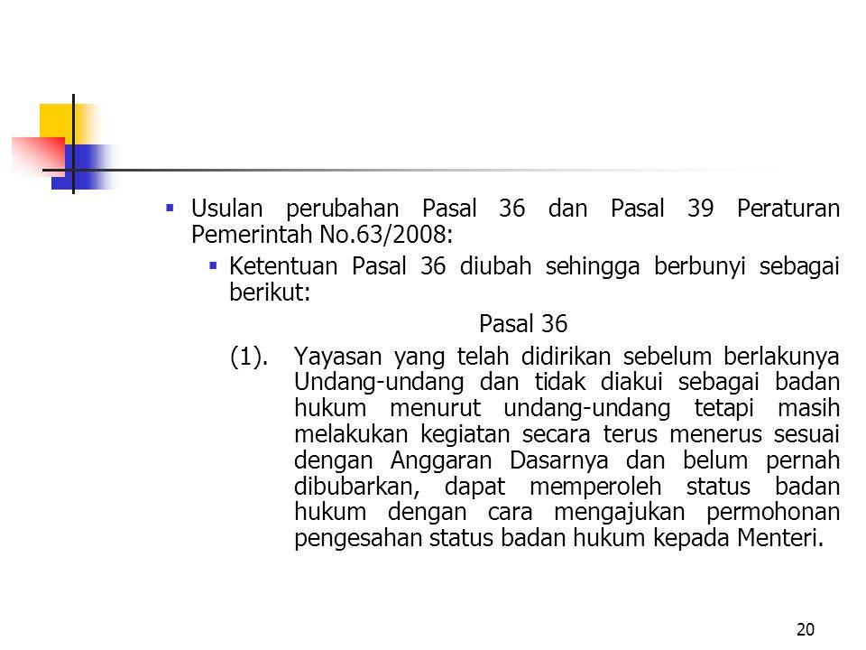 Usulan perubahan Pasal 36 dan Pasal 39 Peraturan Pemerintah No