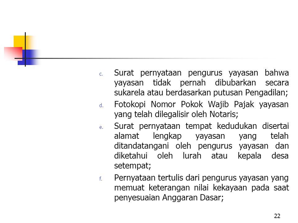 Surat pernyataan pengurus yayasan bahwa yayasan tidak pernah dibubarkan secara sukarela atau berdasarkan putusan Pengadilan;