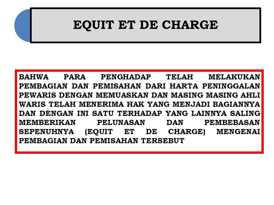 EQUIT ET DE CHARGE