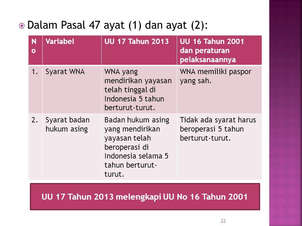 UU 17 Tahun 2013 melengkapi UU No 16 Tahun 2001