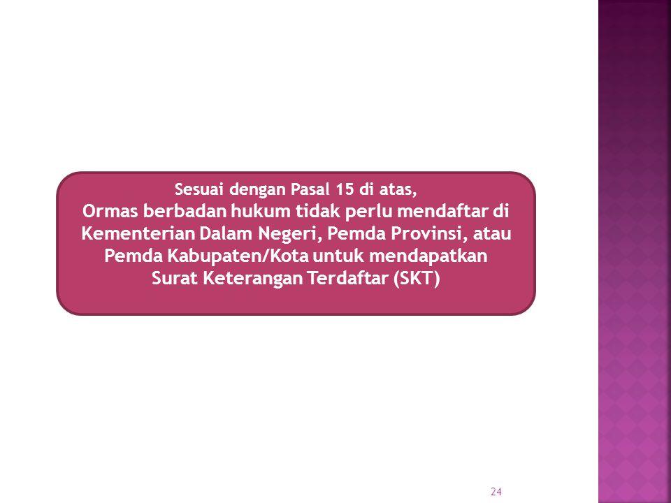 Sesuai dengan Pasal 15 di atas, Surat Keterangan Terdaftar (SKT)
