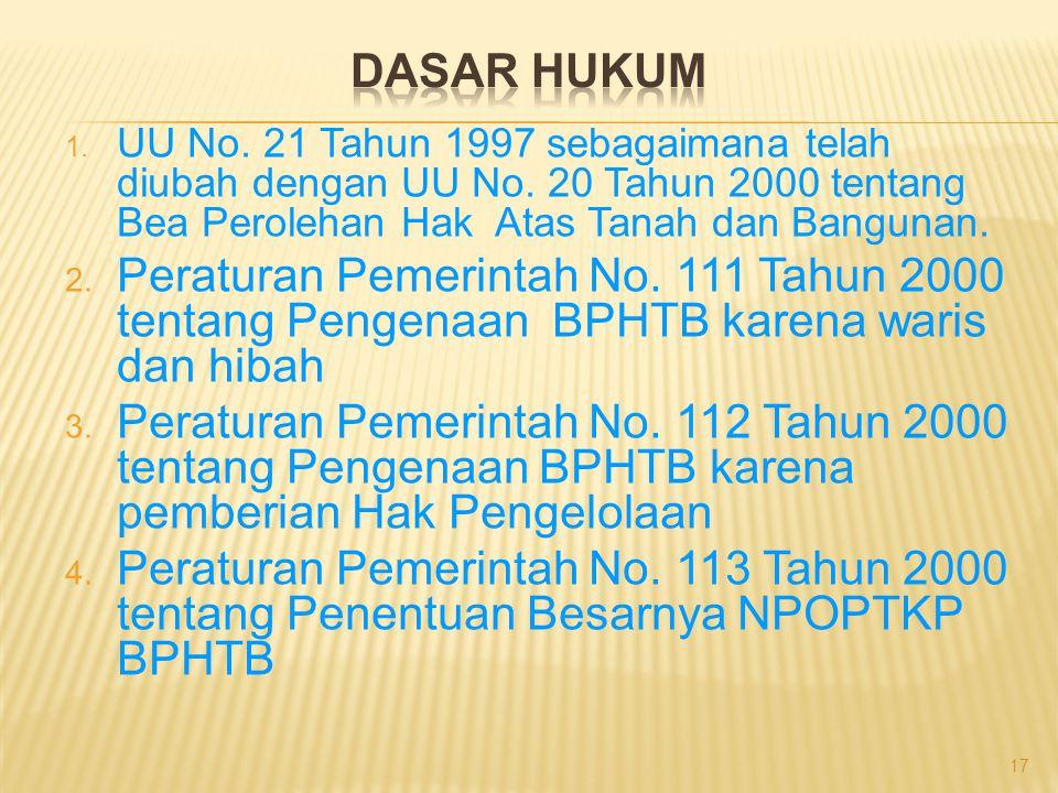 DASAR HUKUM UU No. 21 Tahun 1997 sebagaimana telah diubah dengan UU No. 20 Tahun 2000 tentang Bea Perolehan Hak Atas Tanah dan Bangunan.
