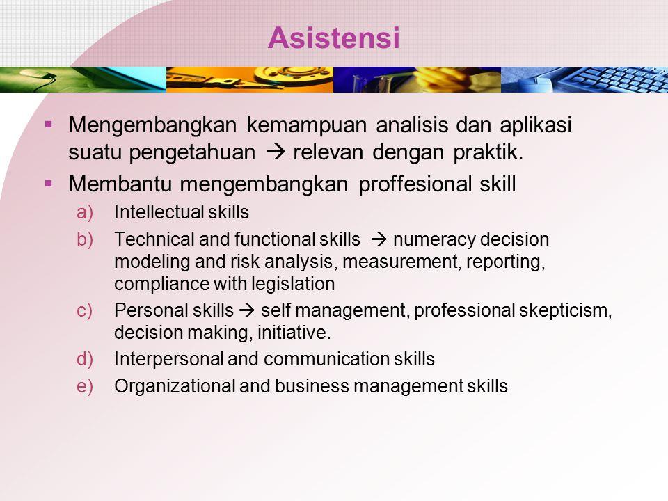Asistensi Mengembangkan kemampuan analisis dan aplikasi suatu pengetahuan  relevan dengan praktik.