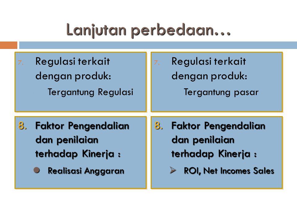 Lanjutan perbedaan… Regulasi terkait dengan produk: