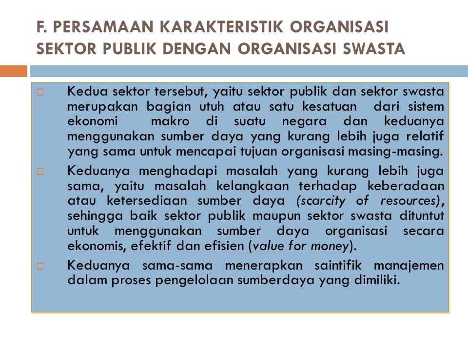 F. PERSAMAAN KARAKTERISTIK ORGANISASI SEKTOR PUBLIK DENGAN ORGANISASI SWASTA