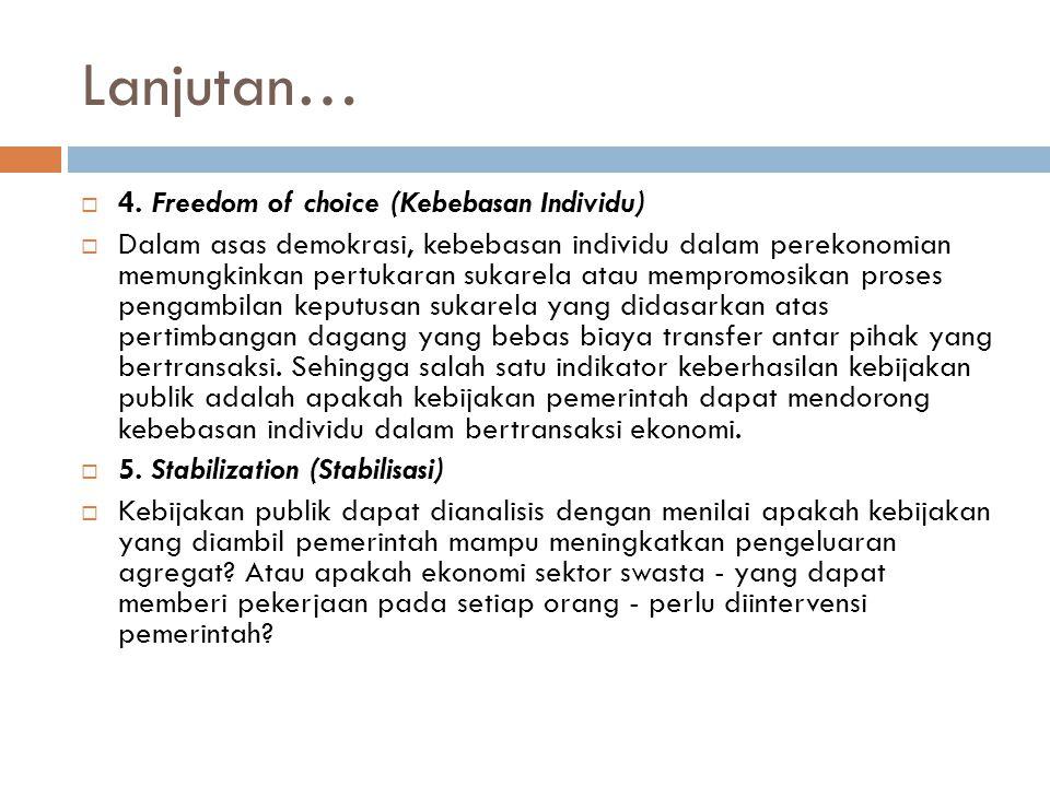 Lanjutan… 4. Freedom of choice (Kebebasan Individu)