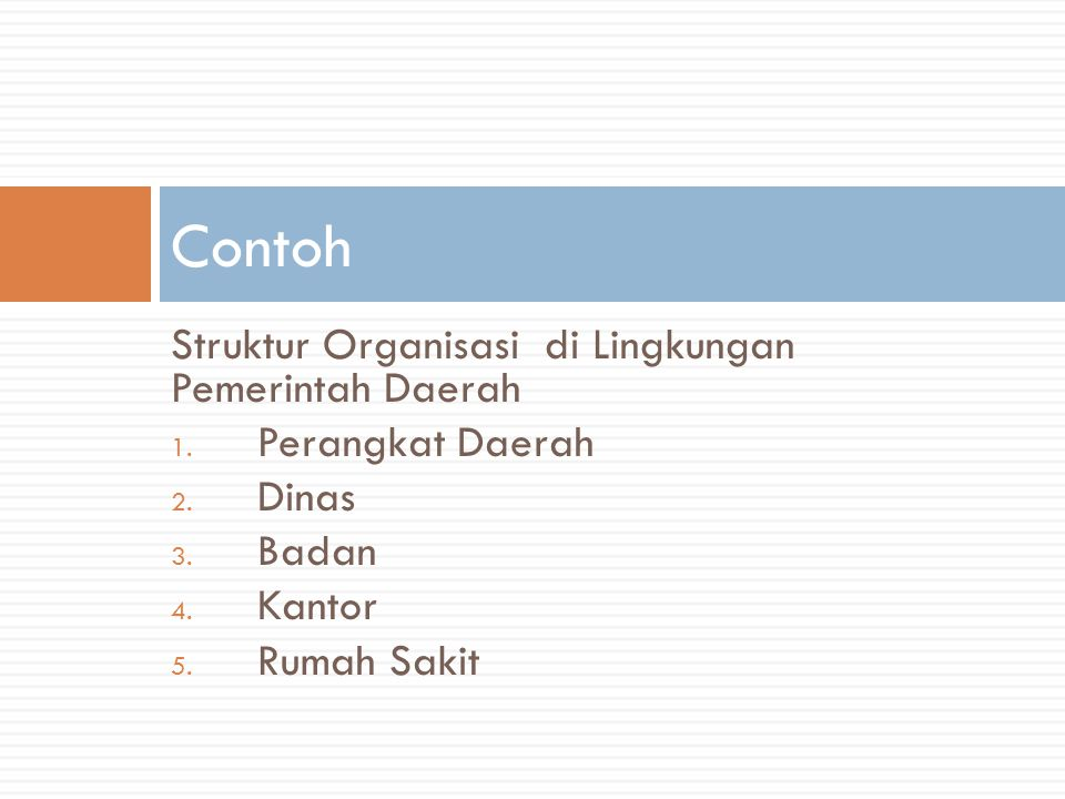 Contoh Struktur Organisasi di Lingkungan Pemerintah Daerah
