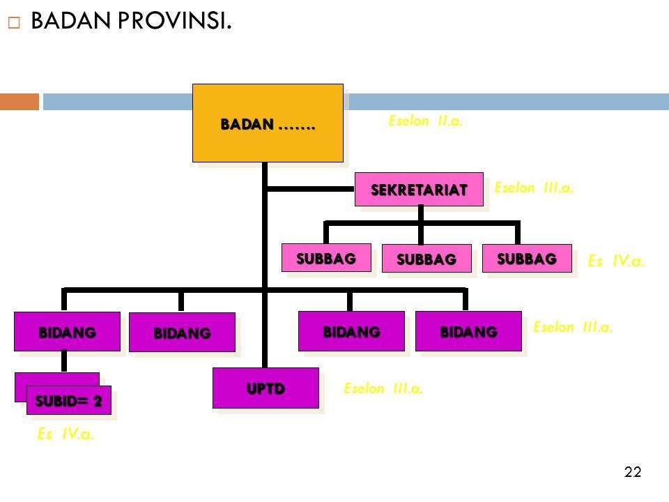 BADAN PROVINSI. Es IV.a. Es IV.a. BADAN ……. Eselon II.a. SEKRETARIAT