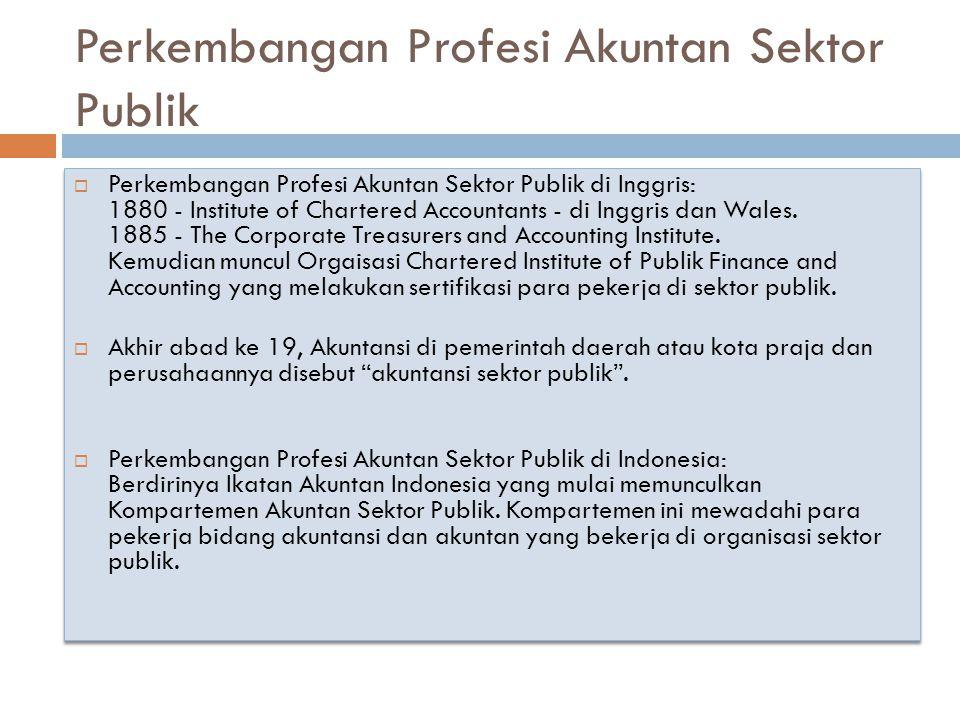 Perkembangan Profesi Akuntan Sektor Publik