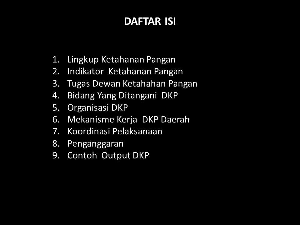 DAFTAR ISI Lingkup Ketahanan Pangan Indikator Ketahanan Pangan