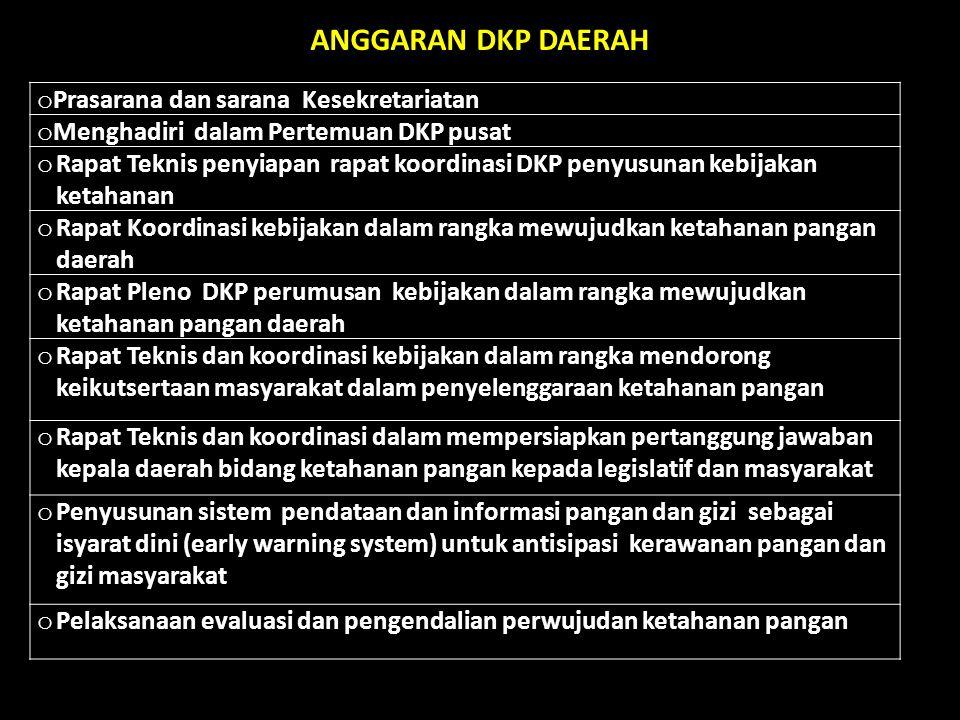 ANGGARAN DKP DAERAH Prasarana dan sarana Kesekretariatan