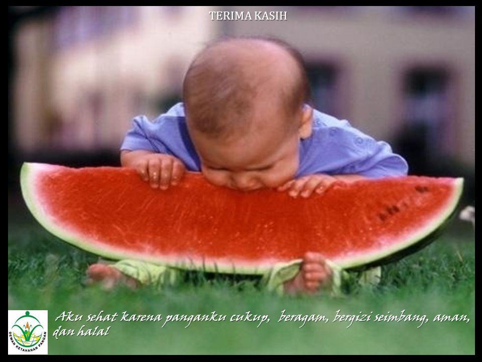 TERIMA KASIH Aku sehat karena panganku cukup, beragam, bergizi seimbang, aman, dan halal