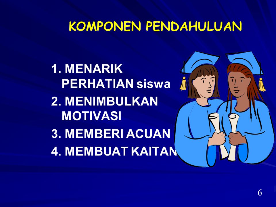 1. MENARIK PERHATIAN siswa 2. MENIMBULKAN MOTIVASI 3. MEMBERI ACUAN