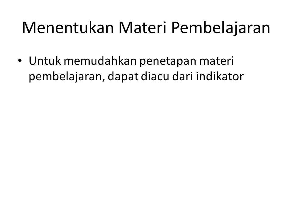 Menentukan Materi Pembelajaran
