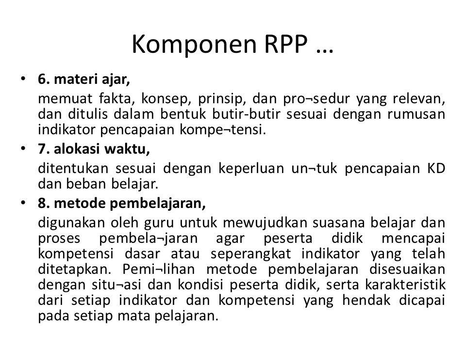 Komponen RPP … 6. materi ajar,