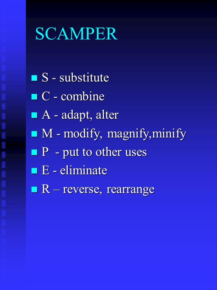 SCAMPER S - substitute C - combine A - adapt, alter