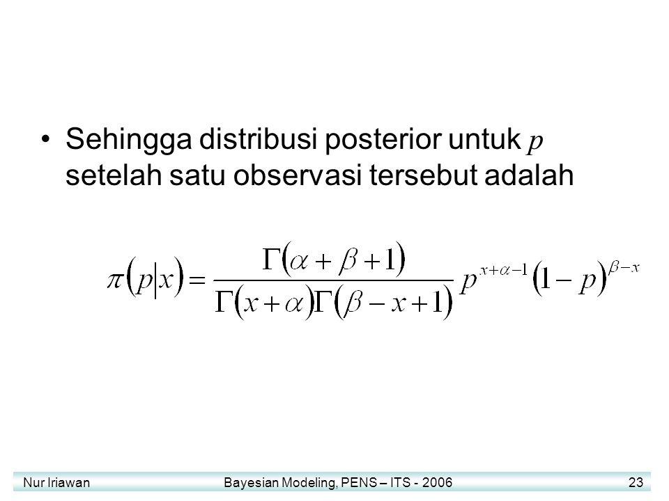 Sehingga distribusi posterior untuk p setelah satu observasi tersebut adalah