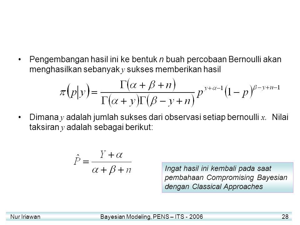 Pengembangan hasil ini ke bentuk n buah percobaan Bernoulli akan menghasilkan sebanyak y sukses memberikan hasil