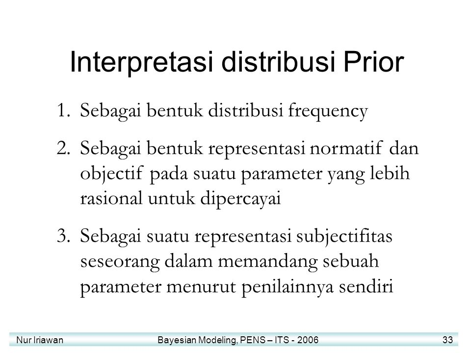 Interpretasi distribusi Prior