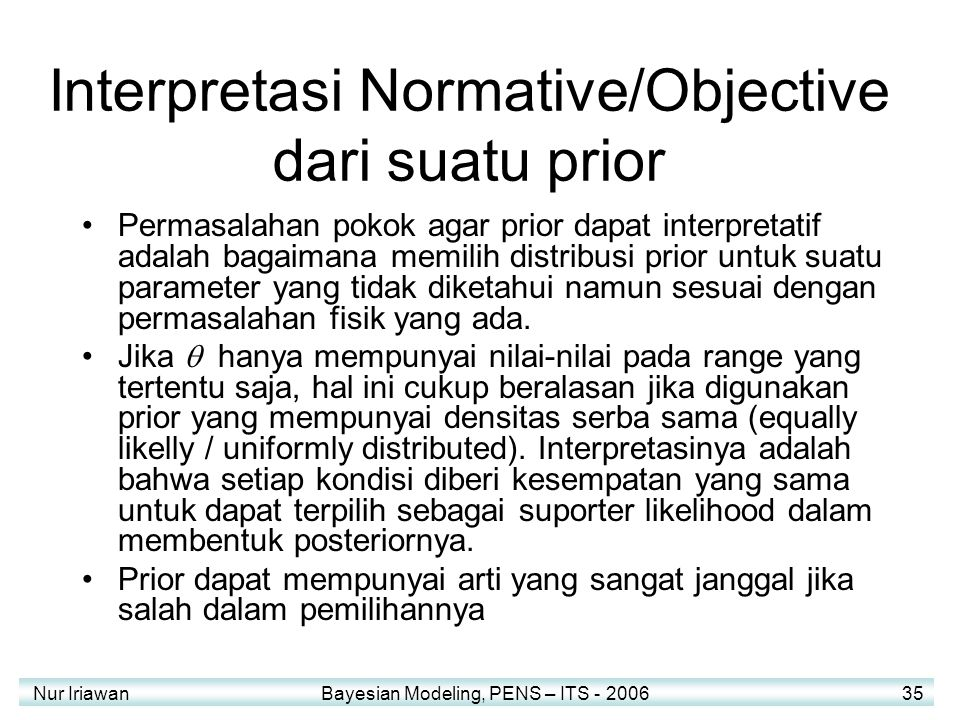 Interpretasi Normative/Objective dari suatu prior