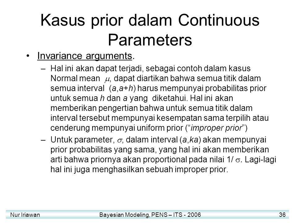 Kasus prior dalam Continuous Parameters