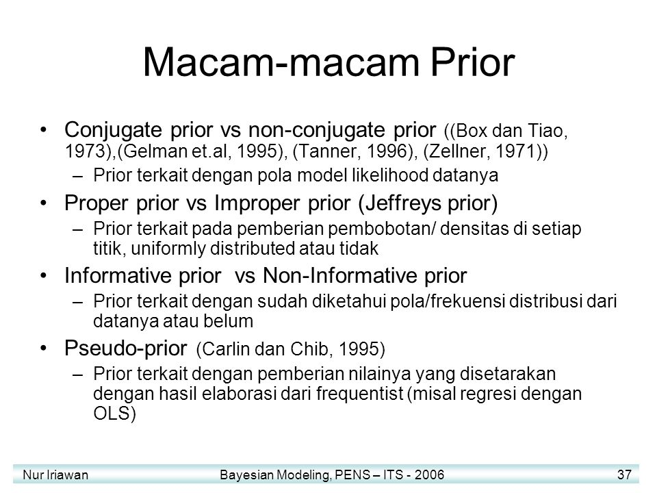 Macam-macam Prior Conjugate prior vs non-conjugate prior ((Box dan Tiao, 1973),(Gelman et.al, 1995), (Tanner, 1996), (Zellner, 1971))