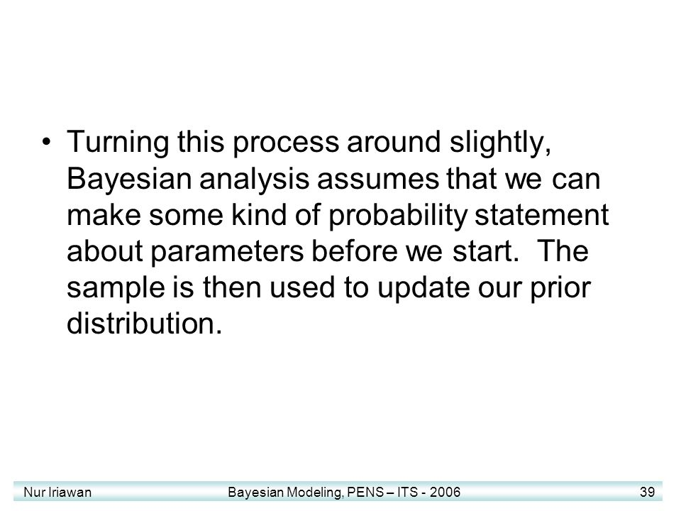 Turning this process around slightly, Bayesian analysis assumes that we can make some kind of probability statement about parameters before we start. The sample is then used to update our prior distribution.