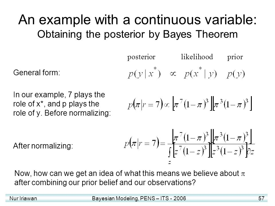 An example with a continuous variable: Obtaining the posterior by Bayes Theorem