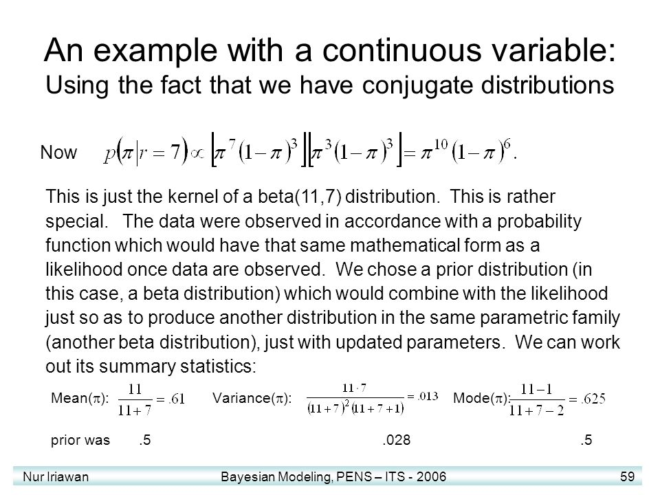 An example with a continuous variable: Using the fact that we have conjugate distributions
