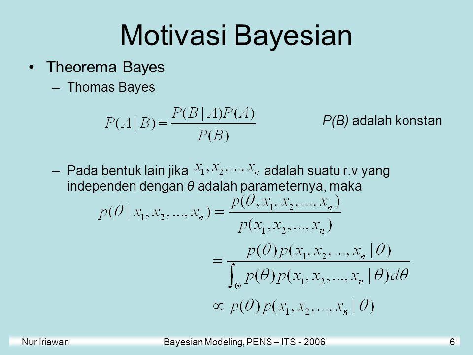 Motivasi Bayesian Theorema Bayes Thomas Bayes