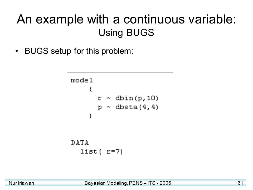 An example with a continuous variable: Using BUGS