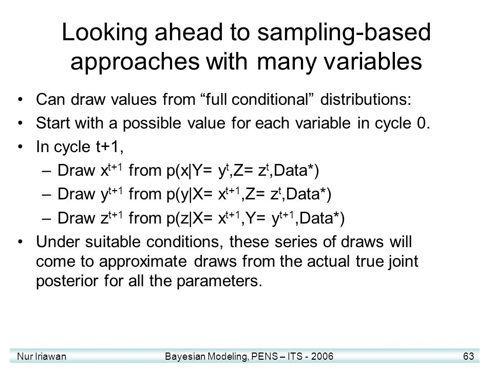 Looking ahead to sampling-based approaches with many variables