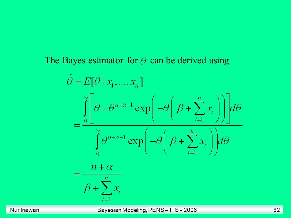 The Bayes estimator for can be derived using