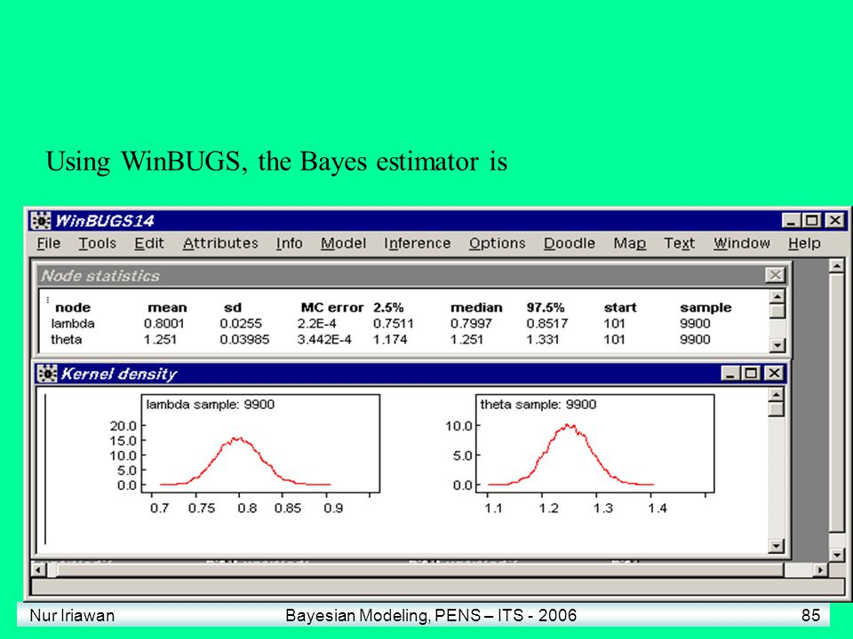 Using WinBUGS, the Bayes estimator is