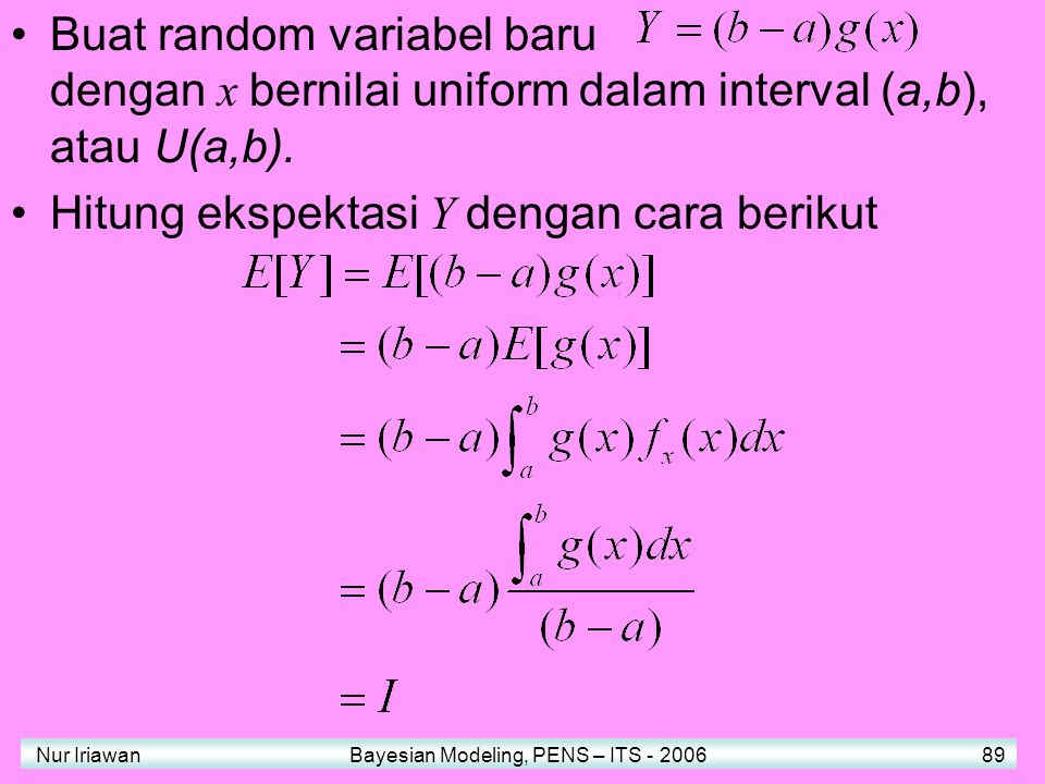 Hitung ekspektasi Y dengan cara berikut