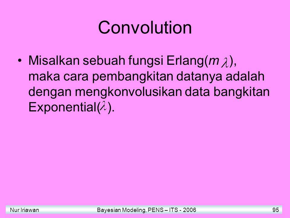 Convolution Misalkan sebuah fungsi Erlang(m ), maka cara pembangkitan datanya adalah dengan mengkonvolusikan data bangkitan Exponential( ).